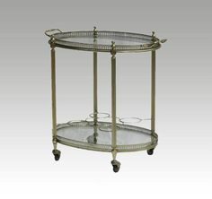 French Brass Bar Cart Drinks Trolley Tray Mid Century