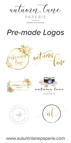 Autumn Lane Paperie has hundreds of premade logo designs for our clients! Business Branding, Logo Branding, Branding Design, Business Tips, Web Design, Graphic Design, Desing Inspiration, Wedding Logo Design, Brand Packaging