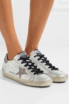Golden Goose Deluxe Brand - Super Star Glittered Distressed Leather Sneakers - Silver