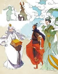 The moon princess and her archer/king husband illustrator: HWEI LIM Illustration Sketches, Illustrations, Chinese Mythology, Moon Princess, Comic Styles, Comic Art, Character Design, Fairy, Fantasy