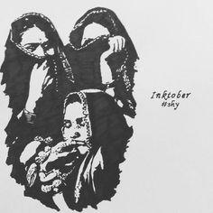 #inktober2017 #inktober #inkdrawing #inkart #day7 #shy #indian #women #inkartist #latepost #blackink #keepingup