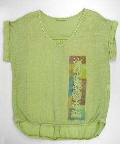 Camiseta verde. Lino y algodón. Camisa lino. Ropa pintada. Pintado a mano. Camiseta única. Camiseta original. Decoración textil. Eco textil. de XanaLuStudio en Etsy