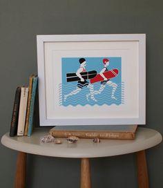 Arthur & Olive Vintage Surf unframed print by AlisonBickDesigns