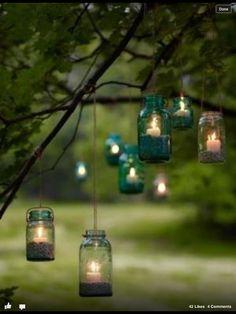 Beautiful / mason jars / outdoor candles / outdoor lighting