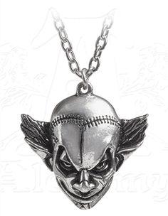 M'era Luna Evil Clown Pendant Necklace by Alchemy Gothic - #infectiousthreads #goth #gothic #horrorpunk #punk #alt #alternative #psychobilly #punkrock #black #fashion #clothes #clothing #darkfashion #streetfashion #alchemygothic #gothicjewelry #gothicnecklaces #gothicpendants