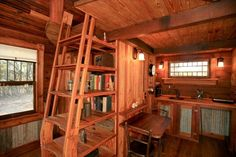 Canyon Lake house. Ships ladder to loft, kitchen and bathroom. Like the wainscoting also.