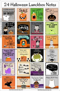 Halloween lunchbox notes