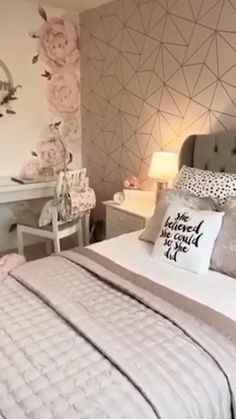 Styled by this beautiful bedroom is inspired by I Love Wallpaper's Zara Shimmer Wallpaper. Rose Gold Bedroom Wallpaper, Room Decor Bedroom Rose Gold, Bedroom Decor For Couples, Room Ideas Bedroom, Small Room Bedroom, Wallpaper Design For Bedroom, Pink Bedroom Design, Soft Wallpaper, Metallic Wallpaper