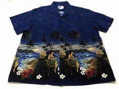 RJC 2XL Men's Blue Hawaiian Short Sleeve Cotton Shirt Floral Hula Girls XXL #RJC #ButtonFront