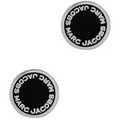 Marc Jacobs Logo Disc silver tone earrings ($55) ❤ liked on Polyvore featuring jewelry, earrings, silvertone jewelry, post earrings, earrings jewellery, silver tone jewelry and post back earrings