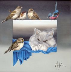 Chehade Studio Oil Paintings, Birds, Studio, Cats, Animals, Paintings, Gatos, Kitty Cats, Animaux