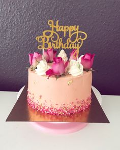 Birthday cake Buttercream cream Cake decorating Roses and cake Girl Essen und tri Birthday cake Buttercream cream Cake decorating Roses and cake Girl Essen und tri Aradhana Pink Worlds Save Images Aradhana Pink Worlds Birthday cake Buttercream cream C 25th Birthday Cakes, 21st Cake, Birthday Cakes For Women, Birthday Cake 21 Girl, Birthday Cake With Roses, Happy Birthday, Birthday Cake Designs, Cakes For Girls, Strawberry Birthday Cake