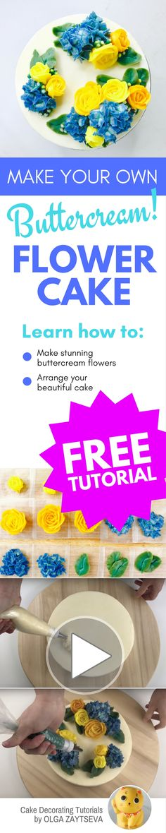 How to make Yellow Roses and Hydrangeas flower clouds cake - Cake decorating tutorial by Olga Zaytseva. Learn how to pipe Roses and Hydrangeas and create bold and cheerful Beauty and the Beast colors inspired buttercream flower clouds cake. #cakedecorating #cakedecoratingtutorial #buttercreamflowercake #buttercreamflowers