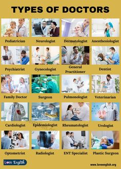 Types of Doctors: 20 Popular Names of Doctors & Medical Specialists in English - Love English English Vocabulary Words, English Phrases, Learn English Words, English Study, English Learning Books, English Writing Skills, English Language Learning, General Knowledge Book, Gernal Knowledge