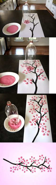 I think this would be an awesome concept for creating holiday wreaths in the classroom or just for fun! Japanese style tree - great art project!