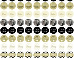 50th Wedding Anniversary In Gold Black White And Cream Personalized Chocolate Kiss Stickers