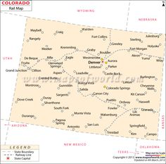 Colorado City Map Showing Major Cities And Towns In The US State - Map of us showing major cities