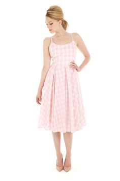 Priscilla Pink Gingham Midi Dress created in a on trend oversized pastel check. Gingham Fabric, Pink Gingham, Gingham Dress, 1960s Dresses, Day Dresses, Summer Dresses, Swing Dress, Dress Skirt, Prom Dress
