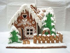 trees covered in green coconut on this gingerbread house. Gingerbread House Designs, Gingerbread House Parties, Gingerbread Village, Christmas Gingerbread House, Gingerbread Cookies, Christmas Goodies, Christmas Treats, Christmas Baking, Christmas Time
