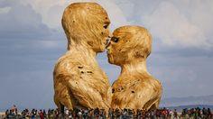 Embrace, a sculpture by Matt Schultz, at Burning Man 2014.