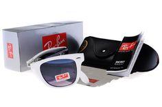 ray ban RB4105 folding wayfarer white and black sunglasses