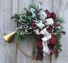 Duxbury French Horn Holiday Wreath  ~A New England Wreath Company Designer Original~