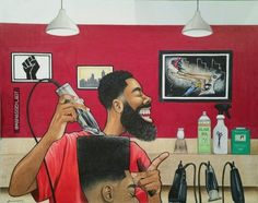 Manasseh Johnson, 'A little off the top' Barber Poster, Barber Logo, Natural Hair Art, Natural Hair Styles, Barber Pictures, Barber Haircuts, Barber Shop Decor, Barbershop Design, Black Cartoon