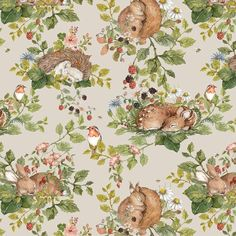 Sotelo x Matt Paste the Wall Wallpaper Roll August Grove Colour: Beige Tier Wallpaper, Animal Wallpaper, Wallpaper Roll, Wall Wallpaper, Pattern Wallpaper, Sleepy Animals, Woodland Creatures, Little Girl Rooms, Large Flowers