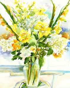 Aniversary bouquet still life watercolor painting by ShirleyBell, $25.00