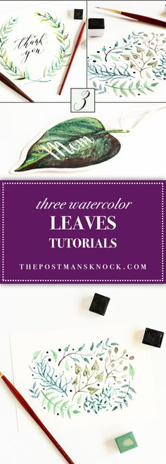 Watercolor leaves are a great design element for anything! This blog post contains three tutorials over how to paint different types of watercolor leaves.