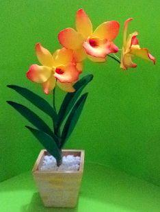 Herthal art's: orquídea amarela de e.v.a, Herthal art's