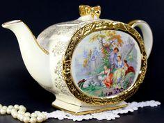 Oval Sadler Tea Pot, Vintage Footed Sadler, Bow Handle, Oval Teapot, Victorian Scene  12631