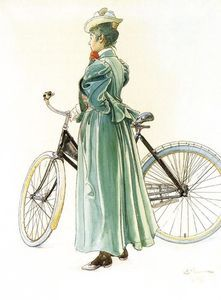 Swedish artist Carl Larsson, woman with bicycle - (Wonder how many times her skirt got caught in the chain!) Still, bikes give such FREEDOM! Carl Larsson, Carl Spitzweg, Bicycle Art, Bicycle Design, Stockholm, Arts And Crafts Movement, Large Painting, Museum Of Fine Arts, National Museum
