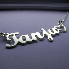 Silver Nameplate Necklace And Heart - more on http://www.yes-jewelry.com/nameplate-necklaces