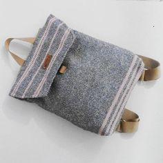 A #grey #handwoven #backpack #ready to #go #handmade #loveautumn #lovehandmade #sigobags #sparkles #weaving #handweaving #pink #madeinro #designerwork