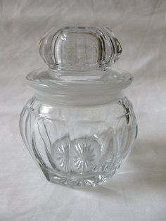 Heisey Glass   Vintage Signed Heisey Glass Lavender Jar from blomstromantiques on ...