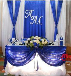 Royal Blue Wedding Decorations, Wedding Reception Centerpieces, Wedding Backdrop Design, Star Wars Wedding, Moroccan Wedding, Wedding Stage, Groomsmen, Wedding Blue, Wedding Decoration
