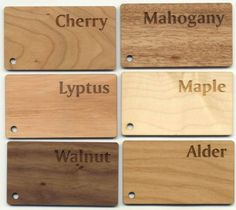 laser engraved woods - really interesting to see the different varieties.