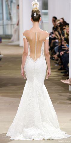 ines di santo spring 2018 bridal off shoulder plunging v neck  mermaid lace wedding dress (haydon) bv sheer low back glam -- Ines Di Santo Spring 2018 Wedding Dresses