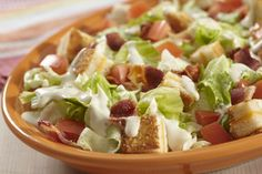 Turn a beloved sandwich into a delicious side dish with this BLT Salad with Grilled Cheese Croutons recipe. Our easy-to-make BLT salad is like two of your favourite sandwiches combined into one tasty dish. Kale Avocado Salad, Blt Salad, Avocado Salad Recipes, Spinach Salad, Hot Sandwich Recipes, Delicious Sandwiches, Bacon, Salads, Tomatoes