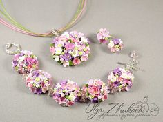 jewelry set with flowers by polyflowers on DeviantArt