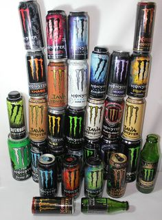 Monster Energy Drink Can Collection EMPTY 31 Total All Different Man Cave Crafts