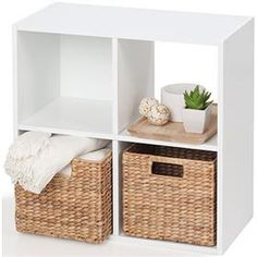 Storage Unit 4 Cube - White - put TV on it Cube Shelves, Cube Storage, Diy Storage, Storage Shelves, Storage Ideas, Shelving, Home Office Furniture, Living Room Furniture, Kids Furniture