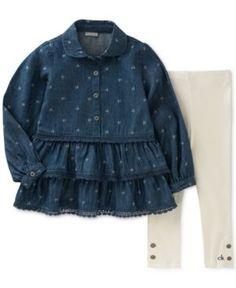 Calvin Klein 2-Pc. Logo-Print Denim Tunic & Leggings Set, Toddler & Little Girls (2T-6X) - Creme/Navy