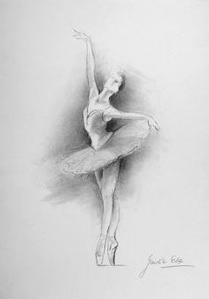 ORIGINAL pencil drawing 12 x 8 on WHITE paper of BALLERINA by Ewa Gawlik.