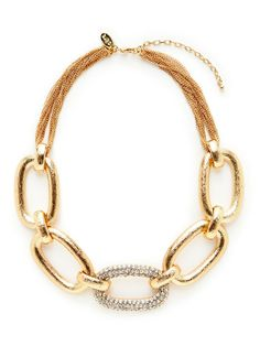 Oversized Rose Gold & Crystal Link Necklace by Cara Couture Jewelry on Gilt.com