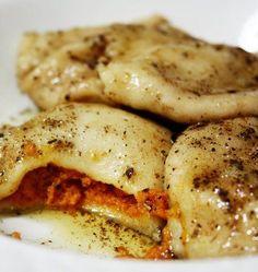 pumpkin ravioli w/sage brown butter sauce: 1/2 stick Butter 2 t chpd sage Splash Milk 1/2 c grated Parmesan 1/2 c Sour cream