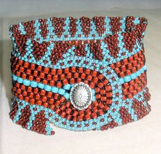 Native American Beaded Bracelet (Cherokee Ribbon Cuff in Turquoise and Terra Cotta) by jstinson.