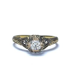 Front view of Edwardian Diamond Solitaire Engagement Ring.