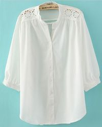 White Crochet Flower Shoulder Puff Sleeve Blouse
